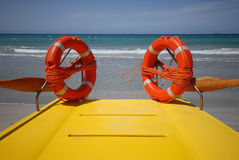 Lifeboat rings. Two survival rings and a yellow lifeboat Stock Photography