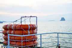 Lifeboat round lifesaver stacked for boat safety Royalty Free Stock Photos