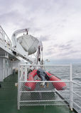 A Lifeboat and a rubber raft. A life boat on a commercial ship with a motorized rubber raft, both ready for action if required Royalty Free Stock Photography