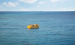 Lifeboat on a sea. Lifeboat after abandon ship alarm on a sea stock image