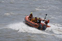 Lifeboat at Sea in Weston-super-Mare, UK stock image