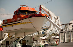 Lifeboat on the ship Stock Images