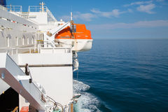 Lifeboat on the ship. In britsh channel Royalty Free Stock Photo