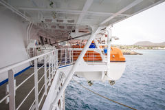Lifeboat on side of a cruise liner Stock Photos