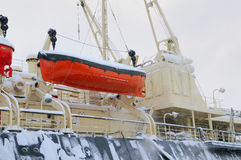 Lifeboat on the side of the ship Stock Image