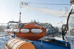 Lifeboat situated on passenger ship Stock Photos