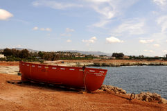 Lifeboat. Lifeboat from the wrecked ship Edro III.-Ship wreck in Cyprus - The Edro III, the Sierra Leone flagged cargo ship, still remains stranded off the Royalty Free Stock Photos