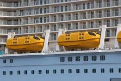Lifeboats. On a cruise ship Stock Photos