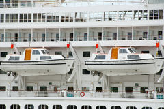 Lifeboats on Cruise Ship Royalty Free Stock Images