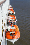 Lifeboats on a cruise ship Royalty Free Stock Images