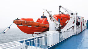 Lifeboats by deck Stock Photos