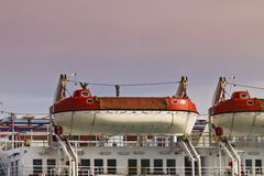 Lifeboats. The lifeboats on large ship Royalty Free Stock Photography