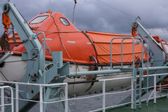Lifeboats secured on a ferry. Brightly coloured Lifeboats secured on a ferry Royalty Free Stock Photo
