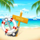 Lifebouy and Anchor Royalty Free Stock Photos