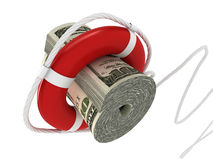 Lifebouy with dollar Royalty Free Stock Photography