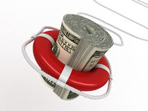 Lifebouy with dollar Stock Photography