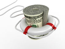 Lifebouy with dollar. On white background. 3d Royalty Free Stock Photo