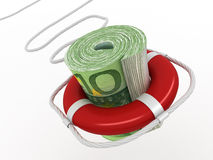 Lifebouy with euro Stock Photo