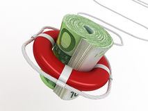 Lifebouy with euro Stock Photography