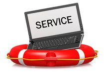 Lifebouy with laptop service Royalty Free Stock Image