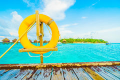 Lifebouy. Or safety ring in maldives resort and hotel - Boost up color , Filter effect Processing Stock Image