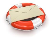 Lifebuoy和信件(包括的裁减路线) 库存照片
