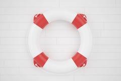 Lifebuoy που βρίσκεται σε μια ξύλινη επιφάνεια Στοκ Φωτογραφίες