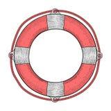 lifebuoy Красный белый спасательный прибор Эскиз нарисованный рукой покрашенный Стоковые Изображения