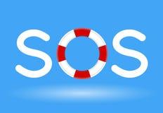 Lifebuoy/спасательный жилет с концепцией текста SOS на голубой предпосылке Стоковая Фотография