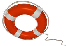 Lifebuoy. 3d image of a orange and white lifebuoy isolated on white with clipping path Stock Photos