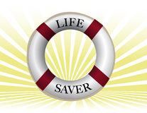 Lifebuoy. Life preserver over sun rays background. Vector File available Stock Images
