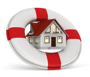 lifebuoy房子的保险 免版税库存照片