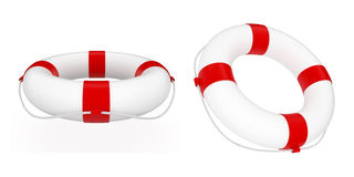 Lifebuoy. 3d render of red and white life belt isolated on white background Royalty Free Stock Photography