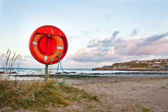 Lifebuoy. An emergency floatation device at a beach in Scotland Stock Photo