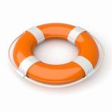 Lifebuoy. 3d image of a orange and white lifebuoy isolated on white Stock Images