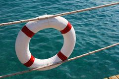 Lifebuoy. Against the sea water Stock Image
