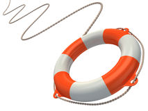 Lifebuoy in the air. 3d illustration Royalty Free Stock Photos