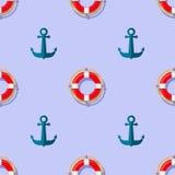 Lifebuoy and Anchor Icons Nautical Pattern. On Blue. Lifequard Symmetric Background Stock Photo