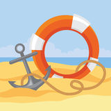 Lifebuoy, anchor and rope Stock Images