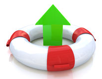 Lifebuoy and arrow. When you make information relating to the selection and salvation Stock Photography