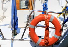 Lifebuoy attached to a boat at the port of Venice Royalty Free Stock Images