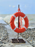 Lifebuoy attached to the seaside Royalty Free Stock Photo