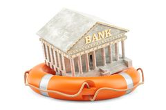 Lifebuoy with bank building, financial protect and security conc. Ept. 3D Stock Images