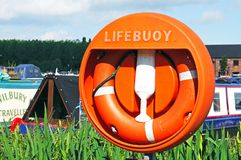 Lifebuoy in Barton marina. Stock Photos