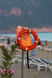 The lifebuoy on the beach Royalty Free Stock Photos