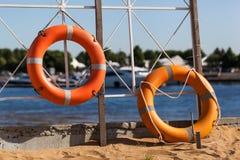 Lifebuoy on beach Stock Photo