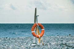 Lifebuoy on the beach. Lifesaver`s post Royalty Free Stock Photo