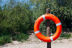 Lifebuoy on the beach. Safety on the pond Royalty Free Stock Image