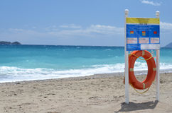 Lifebuoy on the beach. Sea Stock Photography