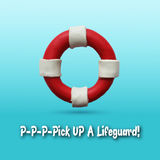 Lifebuoy on blue background. Red and white lifebuoy on blue background. Vector illustration. Plasticine modeling Royalty Free Stock Image